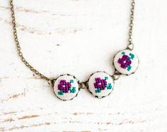 Floral necklace  Cross stitch necklace  Purple flowers  by skrynka, $28.00