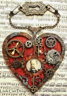 Steampunk Heart Ornament by Linda Cain. Steampunk Heart art supplies from Retro … Steampunk Heart, Style Steampunk, Steampunk Crafts, Steampunk Design, Steampunk Fashion, Steampunk Necklace, Gothic Fashion, Gothic Steampunk, Steampunk Clothing