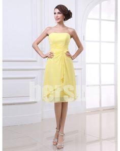 Bersun bandage dress 2013 new arrival Yellow Elegant Princess A-line Chiffon Strapless Short Prom Dresses ball  kaftan dress $93.69