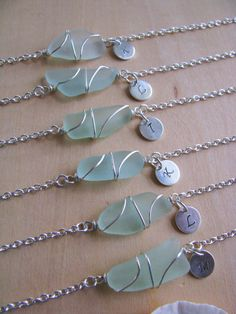 6 Sea Glass Anklets for the bridesmaids! Finished with their initials. BostonSeaglass.etsy.com, $25 each.