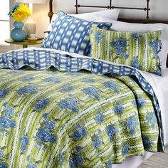 Madcap Cottage Bed of Roses 3-piece Reversible Quilt Set  French Blue Full Queen #MadcapCottage