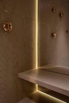 A dressing room in Maison Martin Margiela's London location. Cove Lighting, Indirect Lighting, Lighting Design, Light Architecture, Interior Architecture, Interior Design, Interior Detailing, Luz Artificial, Luz Led