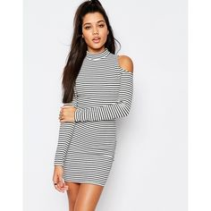 Missguided Cold Shoulder Stripe Bodycon Mini Dress ($15) ❤ liked on Polyvore featuring dresses, multi, white dress, short dresses, white cold shoulder dress, striped dress and short white dresses
