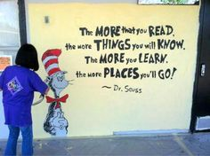 reading... and going places!  It was fun creating murals at Lee Mathson School for Synopsys' 25th anniv with CityYear