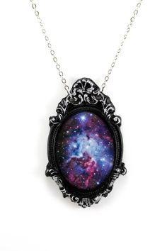 "Purple Galaxy Necklace with Ornate Silver & Black Frame on 18"" Chain"