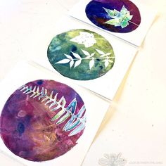 A set of three gelli prints made by printing with leaves and adding watercolor to two. This is a fail proof project! Visual Art Lessons, Art Education Lessons, Art Lessons Elementary, Intro To Art, Gelli Printing, Fabric Printing, Gelli Arts, Elements Of Art, Art Plastique