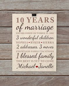 10 year anniversary gift wedding anniversary important dates family marriage art vintage damask neutral brown