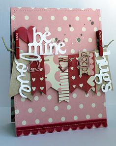 Cute Clothesline Love Card...with mini painted craft clothespins ~ via Jaki Burns