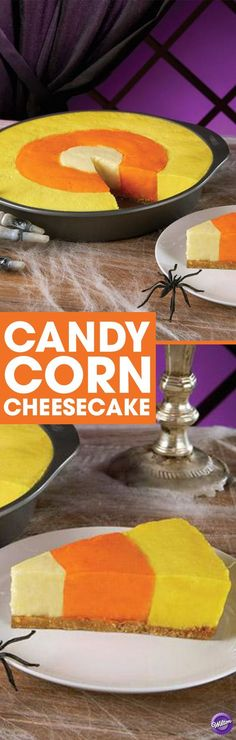 Candy Corn Cheesecake Recipe - It's the best of both worlds. A delicious cheesecake made to resemble Halloween candy corn. The magic begins with the Wilton Checkerboard Cake Pan. It allows three different color batters to be baked at the same time. Sac Halloween, Halloween Sweets, Halloween Baking, Halloween Goodies, Halloween Food For Party, Halloween Candy, Happy Halloween, Halloween Ideas, Halloween 2017