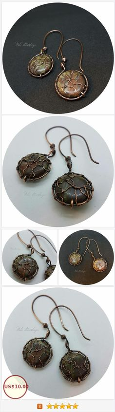 Copper earrings with brown stones, Wire Wrap earrings, Earrings with Jasper, Jasper, Boho earrings, Gift for her, Copper jewelry https://www.etsy.com/MilaWireWrapArt/listing/557332780/copper-earrings-with-brown-stones-wire?ref=shop_home_active_8