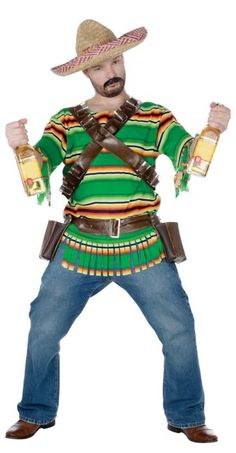 FunWorld Men's Tequila Pop N' Dude, Green, One Size Costume: This is one partying dude! Striped top, sombrero, bandolier belt and tequila holster belt. Simply supply your own tequila bottles. Pants and shoes not included. Adult standard fits up to size Pet Costumes, Funny Halloween Costumes, Cool Costumes, Adult Costumes, Costume Ideas, Men's Costumes, Halloween Makeup, Beer Costume, Cosplay Costume
