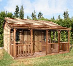 Cedarshed Farmhouse sheds are available in 4 sizes and make a great backyard bedroom. Use this kit as a home art studio, office, craft shed or living area. Wood Storage Sheds, Storage Shed Plans, Firewood Storage, Craft Shed, Diy Shed, Shed Kits For Sale, Farmhouse Sheds, Outdoor Bedroom, Tiny Cottages
