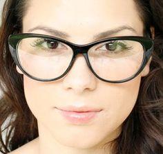 d48eec91e957 70s Vintage Clear Lens Black Cat Eye Womens Eyeglasses Cool Glasses, Cat  Eye Glasses,