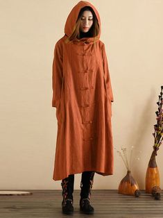 S-5XL Vintage Women Hooded Pockets Cotton Coats