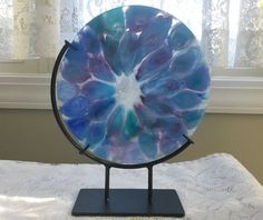 Fused Glass Art Blue Aqua Lavender Art Glass by AngelasArtGlass
