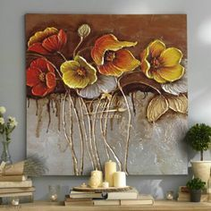 Flores Amapolas de Chocolate- Cuadros Decorativos al Oleo