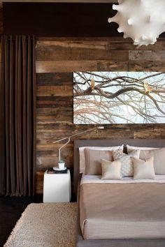 schlafzimmer Wandgestaltung-mit Holzdielen-rustikaler charme
