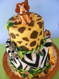 Jungle Animals bby girl birthday cake