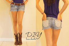 DIY Shorts with Lace Pockets