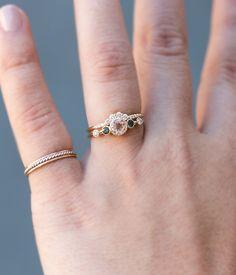 Morganite Green Sapphire Diamond Ring - Audry Rose
