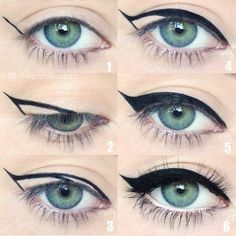 For a quick trick to get a perfect cat eye, draw an acute triangle from the middle of your lid outward and fill it in. #perfectwingedliner