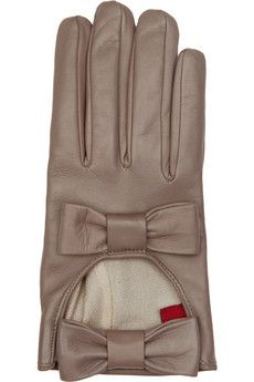 Valentino taupe gloves Leather Two bows, elasticated strap leather; Wolford Tights, Leather Gloves, Leather Bow, Outfit Maker, Jaba, Christian Louboutin Shoes, Arm Warmers, Taupe, Cuff Bracelets