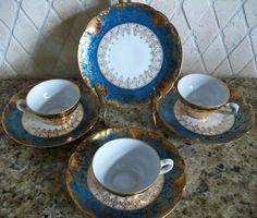 Limoges  set of 4 Porcelain Saucers w 3 Demitasse by LaCheriMaison, $145.00