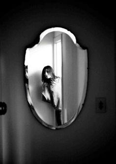 Charlotte Gainsbourg by Kurt Iswarienko. | mirror | reflection | woman | bedroom | doorway | ajar | beauty | www.republicofyou.com.au