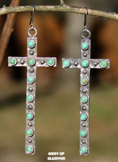 Skinny Silver Cross Earrings with Turquoise Studs - $34.95