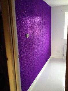 Purple glitter wall - beautiful!