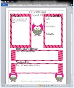 Owl Newsletter Template. The font used is LD String Bean. If you do not have this font, the template with not open correctly. The font is free to download, using a google search.