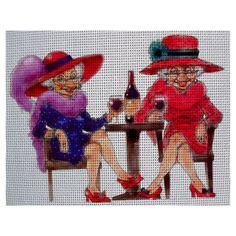0 point de croix 2 vieilles femmes buvant du vin- cross stitch 2 old ladies drinking wine