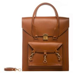 Tomas Brilliance - Brown Pelham Bag ($560) ❤ liked on Polyvore featuring bags, handbags, leather handbags, brown leather handbag, brown leather tote bag, genuine leather handbags and handbags totes
