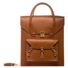 Tomas Brilliance - Brown Pelham Bag ($560) ❤ liked on Polyvore featuring bags, handbags, leather handbags, brown leather handbag, brown leather tote bag, genuine leather handbags and handbags totes