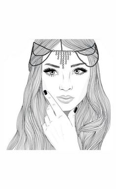 amazing, art, artist, beauty, black, black and white, draw, drawing, eye, eyebrows, eyes, girl, grunge, hair, hairstyle, lips, makeup, nails, noir, outline, perfect, perfection, princess, queen, tumblr, white