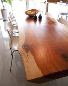 what a gorgeous piece of wood turned into great dining room table...