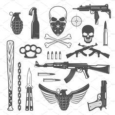 Gangster Monochrome Elements Set by VectorPot on Creative Market Gangster Monochrome Elements Set by VectorPot on Creative Market Kritzelei Tattoo, Smal Tattoo, Tattoo Dotwork, Doodle Tattoo, Tattoo Hals, Ak47 Tattoo, Tattoo Set, Flash Art Tattoos, Body Art Tattoos
