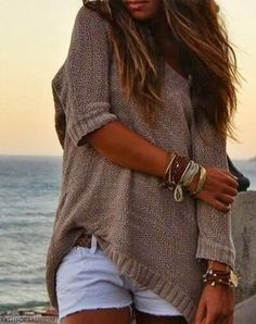 Sweater and white shorts. Simple yet beautiful...