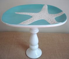 vintage inspired starfish dessert pedestal ~~~ fun way to display treats~~~