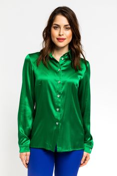 Silk Material, Green Silk, Timeless Elegance, Every Woman, Emerald Green, Shirt Style, Spring Fashion, Buttons, Elegant