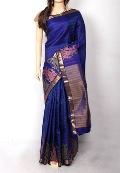 882d3750e73 Silk Sarees · Pepsi Blue Colored all over weaving Designed Stylish Big  Motif Bordered Pure Silk Saree with Same
