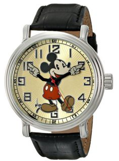 Disney Mens 56109 Vintage Mickey Mouse Watch with Black Leather Band Unisex New #Ewatchfactory #CartoonIdol