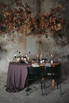 Moody Winter Wedding Inspiration From South Africa - Once Wed winter wedding Moody Winter Wedding Inspiration From South Africa - Once Wed Wedding Reception Flowers, Purple Wedding, Wedding Table, Wedding Dresses, Wedding Cakes, Hanging Flowers, Table Flowers, Flower Installation, Once Wed