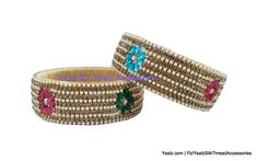 silk thread jewelry Bangle Earring Jumka-Yaalz Antique Stone & Pearl Rich Kada Bangle Pair-YAALZ