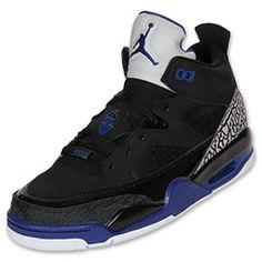 Men's Jordan Son of Mars Low Basketball Shoes | FinishLine.com | Black/Grape Ice/White