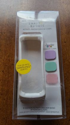 NEW! Smart Buddie White Striped Activity Band  Clasps Samsung Gear Fit Smarties