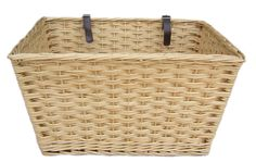Wicker Valley Extra Large Rectangular Bicycle Basket Features: Buff willow - dark brown leather straps x 2 (each 25cm long) Overall dimensions: 40cm H x 55cm W x 30cm D