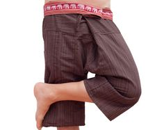 Short Thai Fisherman Pants Unisex Pants Wide Leg by AsianCraftShop, $11.00