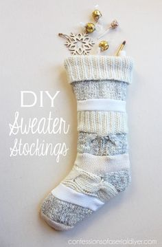 Sweater Stockings I made from old sweaters I rescued from my Goodwill donation bag!