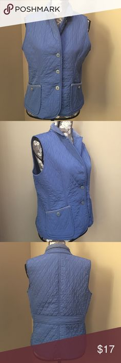 Talbots quilted vest Talbots blue quilted vest with blue corduroy around the collar.  Size petite small. I'm a regular small and it fits me.  Excellent condition.  100% polyester and lining.  The buttons are very neat.  Great for fall! Talbots Jackets & Coats Vests
